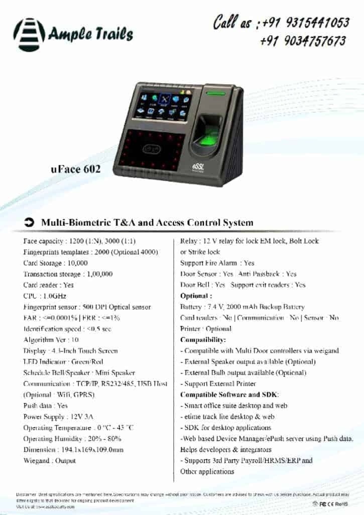 thumbnail of Biometric Time & Attendance uFace 602