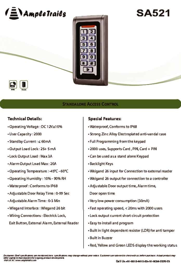 thumbnail of Waterproof STANDALONE ACCESS CONTROL SA521 AmpleTrails