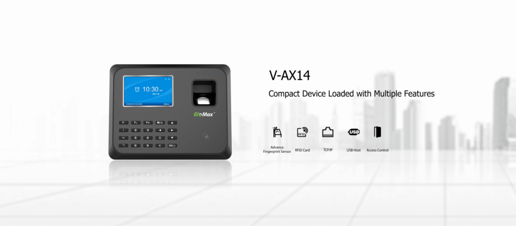 Compact Biometric Attendance machine Biomax V-AX14