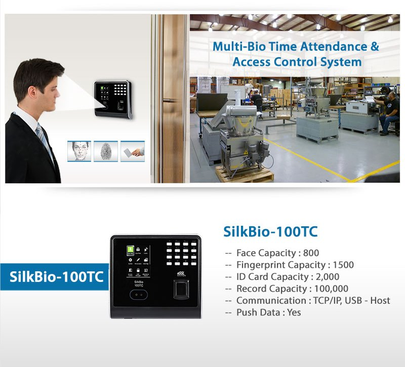 SilkBio-100TC Bio Metric Face Fingerprint Attendance Machine