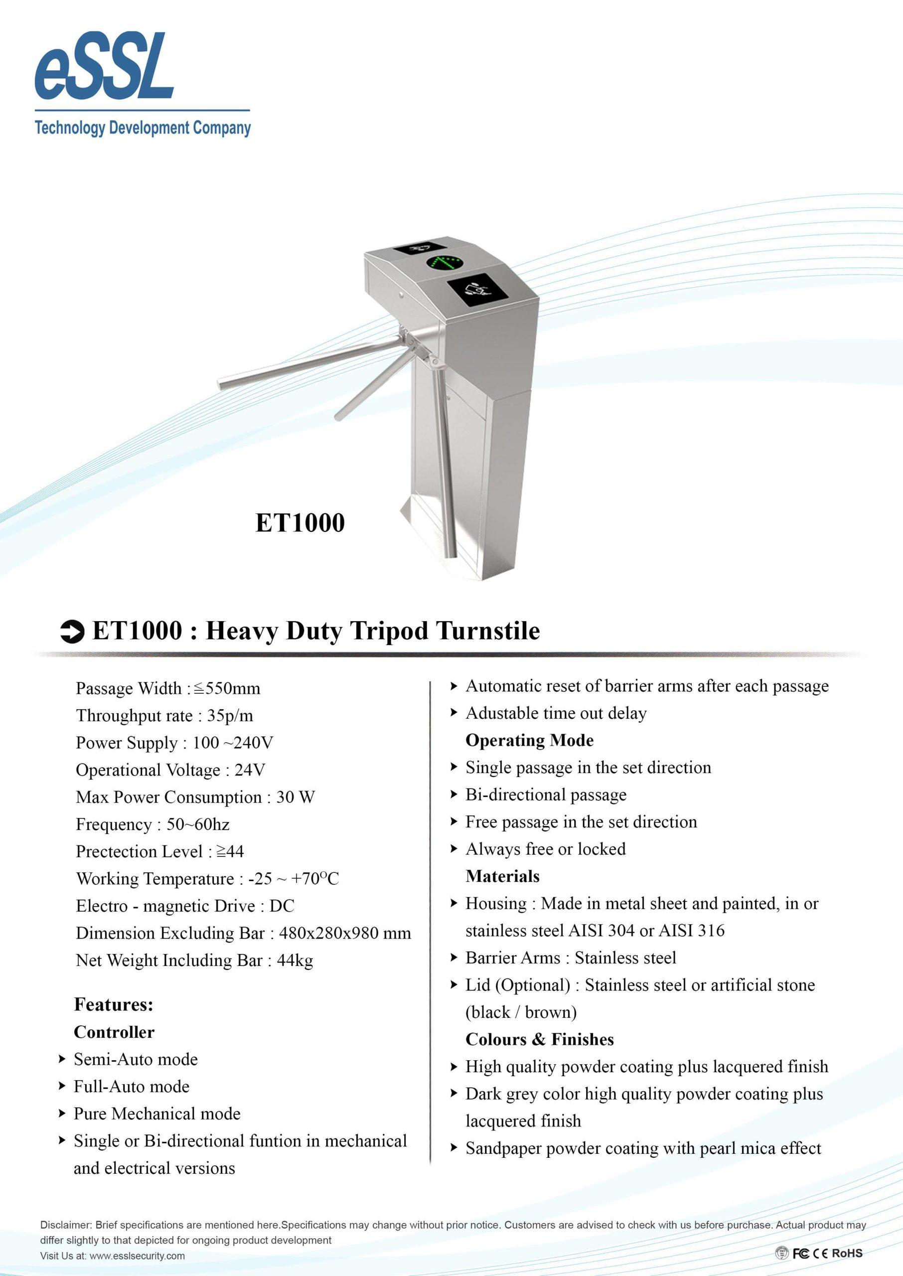 ET1000 Heavy Duty Tripod Turnstile