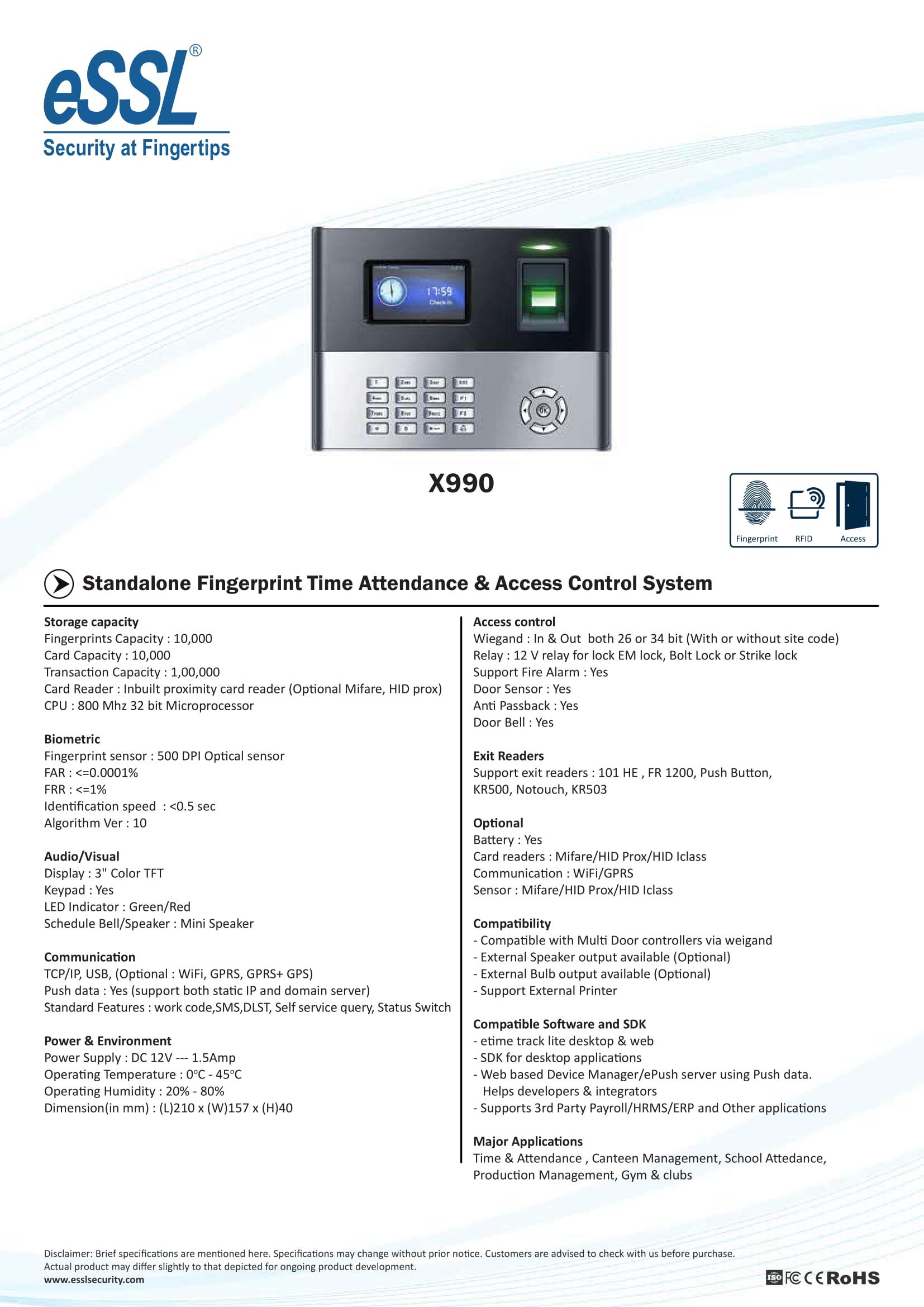essl x990 Biometric Machine