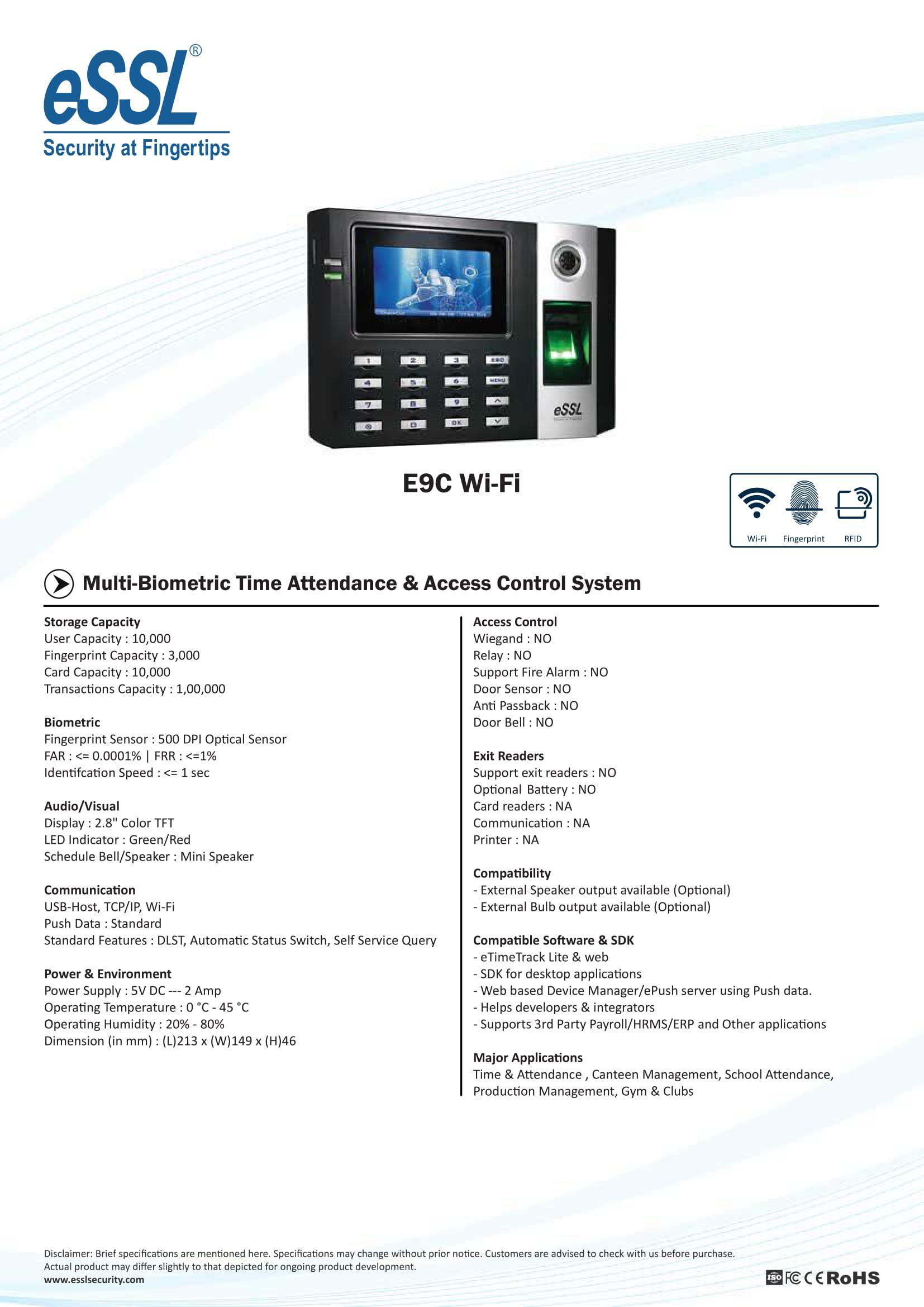 eSSL E9C WiFi Attendance Machine